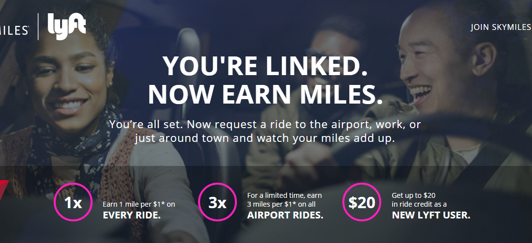 New! Earn up to 3 Delta SkyMiles per Dollar with Lyft Promotion Deal Referral