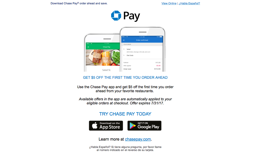 $5 USD Discount on Food Orders With Chase Pay