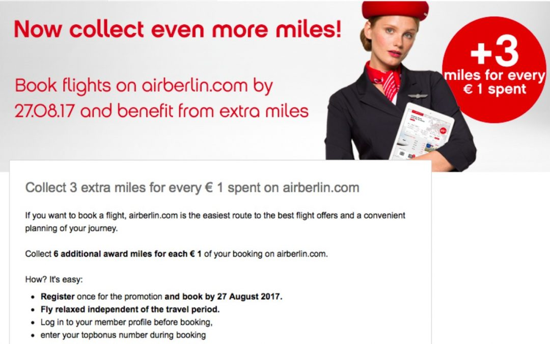 Collect 3 extra miles for every € 1 spent on airberlin.com Travel Promotion